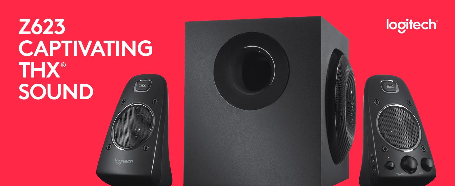 Logitech Z623 400 Watt Home Speaker System, 2 1 Speaker System