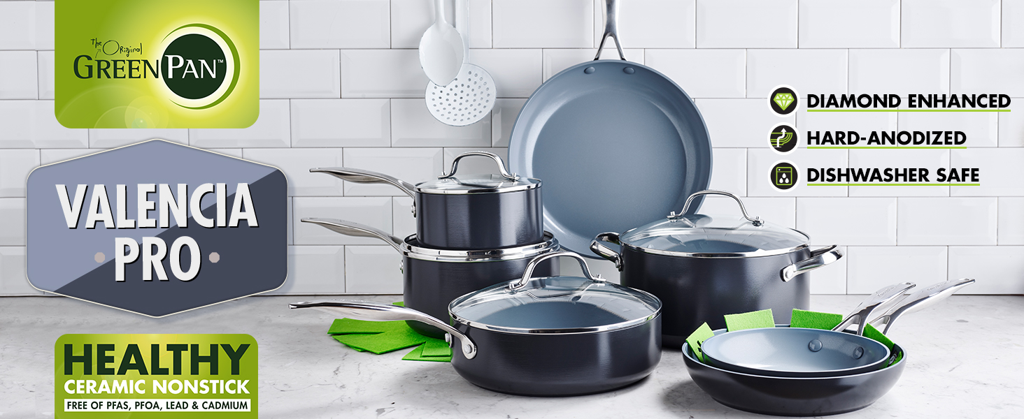 GreenPan, Valencia Pro, Healthy Ceramic Nonstick, Pots and Pans, Cookware, Hard Anodized, Induction