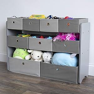 Humble Crew Toy Organizer with Fabric Storage Bins Grey