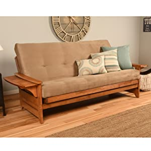 futon, couch, hide a bed, bed, sofa, living room, brown, suede, upholstered, bedroom, guest
