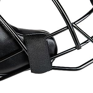 Umpire Mask hook and loop strap closeup