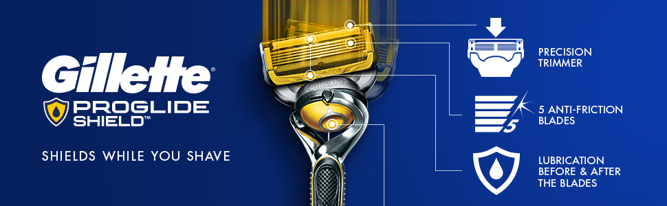 ProGlide Shield Gillette Precision Trimmer, 5 anti friction blades, lubrication before & after