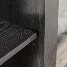shelf detail, shelf closeup, rta furniture, ready to assemble furniture, black tv stand, black wood