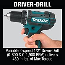 driver drill variable 2-speed RPM delivers maximum torque in.lb inch-lbs