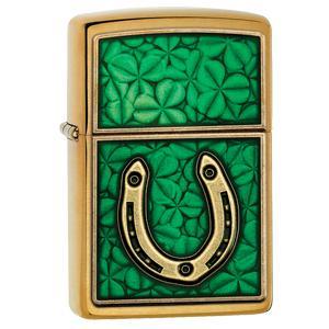zippo case, zippo lighter case, lighter case, clover lighter case, irish lighter, lucky horseshoe