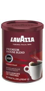 lavazza, premium, house, blend, espresso, coffee, tin, can