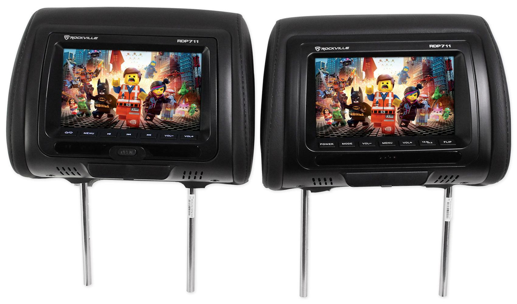Car Headrest Monitors W Dvd Player Usb Hdmi Games
