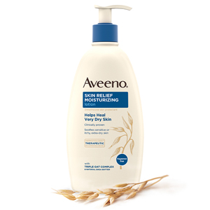 Bottle of Aveeno Skin Relief Fragrance-Free Moisturizing Lotion for Sensitive, Extra Dry Itchy Skin