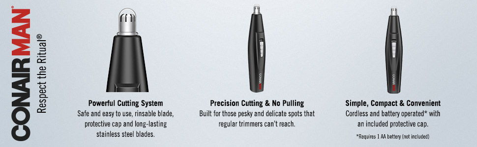 ConairMAN, Powerful nose trimmer, ear trimmer, cutting system, precision, no pulling, simple