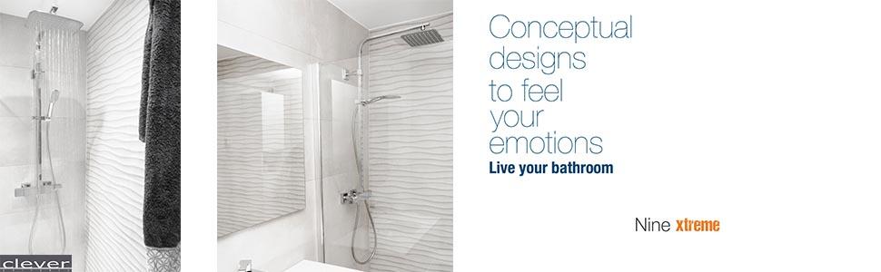 Nine Xtreme - Columna de ducha extensible termostática, incluye ...