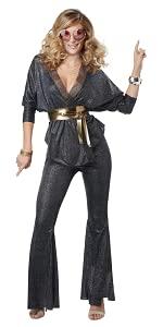 Disco, 70's, 1790's, GoGo Dancer, Seventies, Black and Gold, Studio 54, Women's Costume, Halloween