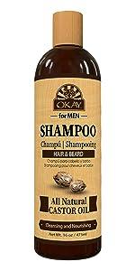 OKAY for Men Shampoo Wash w/ Castor Oil Free of Parabens,Silicones,Sulfates16 oz