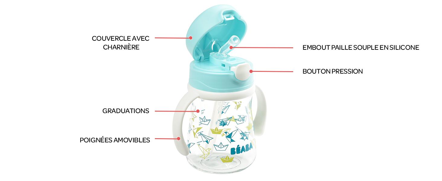 Poign/ées amovibles Facile /à Ouvrir 210 ml Anti-fuite Tritan et Silicone B/ÉABA Tasse Paille Enfant 100/% /étanche Biberon//Tasse dapprentissage 2 en 1 Windy Blue