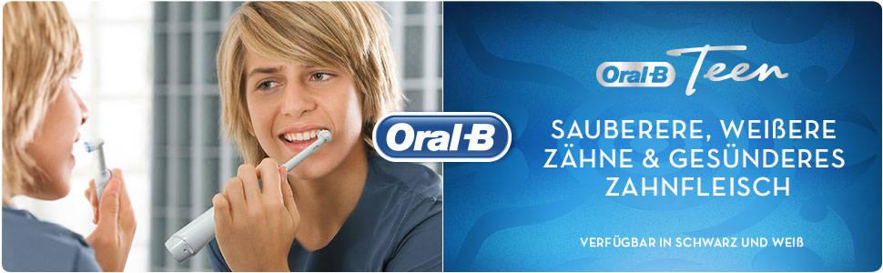Oral-B Teen Elektrische Zahnbürste für Teenager ab 12 Jahren, weiß