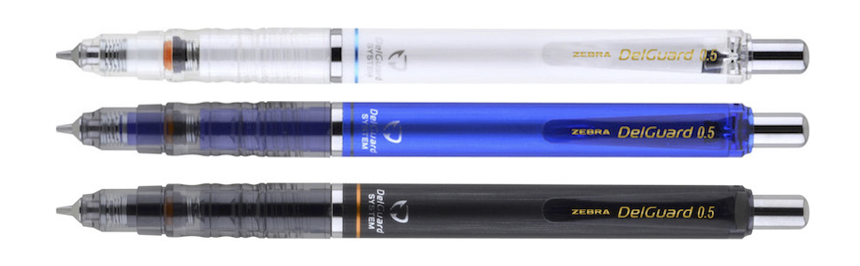 delguard mechanical pencils from zebra pen,available in 3 colors: white, blue and black,zebra pencil