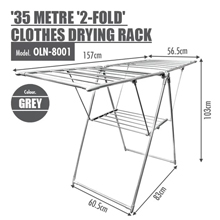 35 Metre '2-Fold Wing' Clothes Drying Airer Rack : Durable steel finish