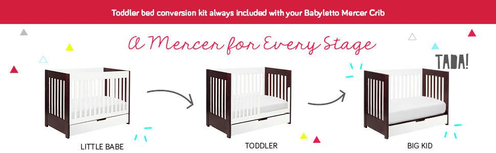 Amazon Com Babyletto Mercer 3 In 1 Convertible Crib With