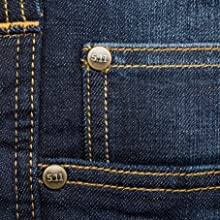Five pocket styling plus two rear hip pockets