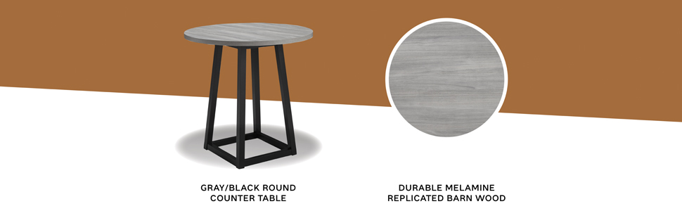 gray black round counter table with melamine replicated barn wood top modern industrial