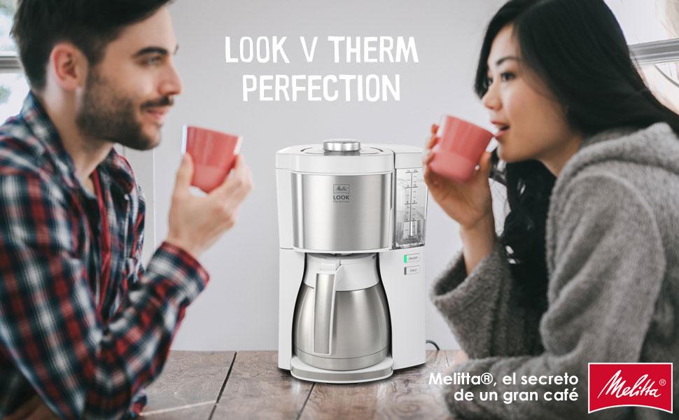 Melitta Look V Therm Perfection 1025-15, Cafetera de Goteo, Jarra Térmica, Protección Antical, Depósito Extraíble, 1,25 Litros, Blanco: Amazon.es: Hogar