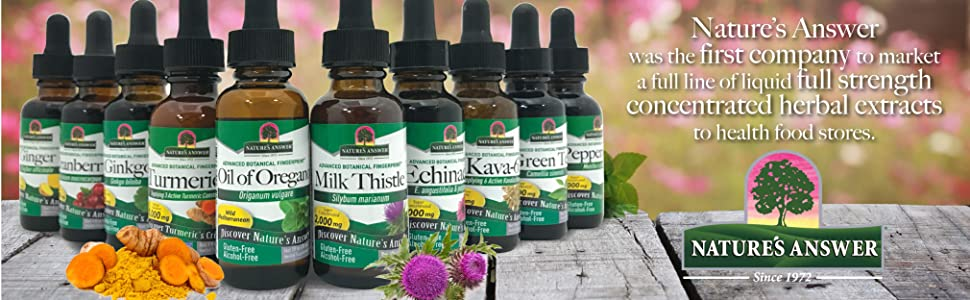 Nature's Answer, Liquid herbal extracts, concentrated, alcohol-free, natural marketplace, extraction