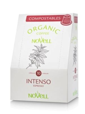 Cafés Novell Cápsulas compostables compatibles con Nespresso Intenso – 4 paquetes de 10 cápsulas