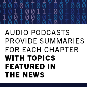 audio podcasts provide summaries for each chapter with topics featured in the news