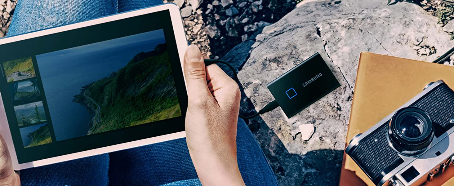 Samsung Portable SSD T7 Touch connected to a tablet