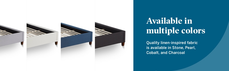bed base pearl white off white cream charcoal black grey gray blue cobalt teal stone Atlantic