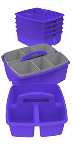 Storex Small Caddy, Purple, 6-Pack