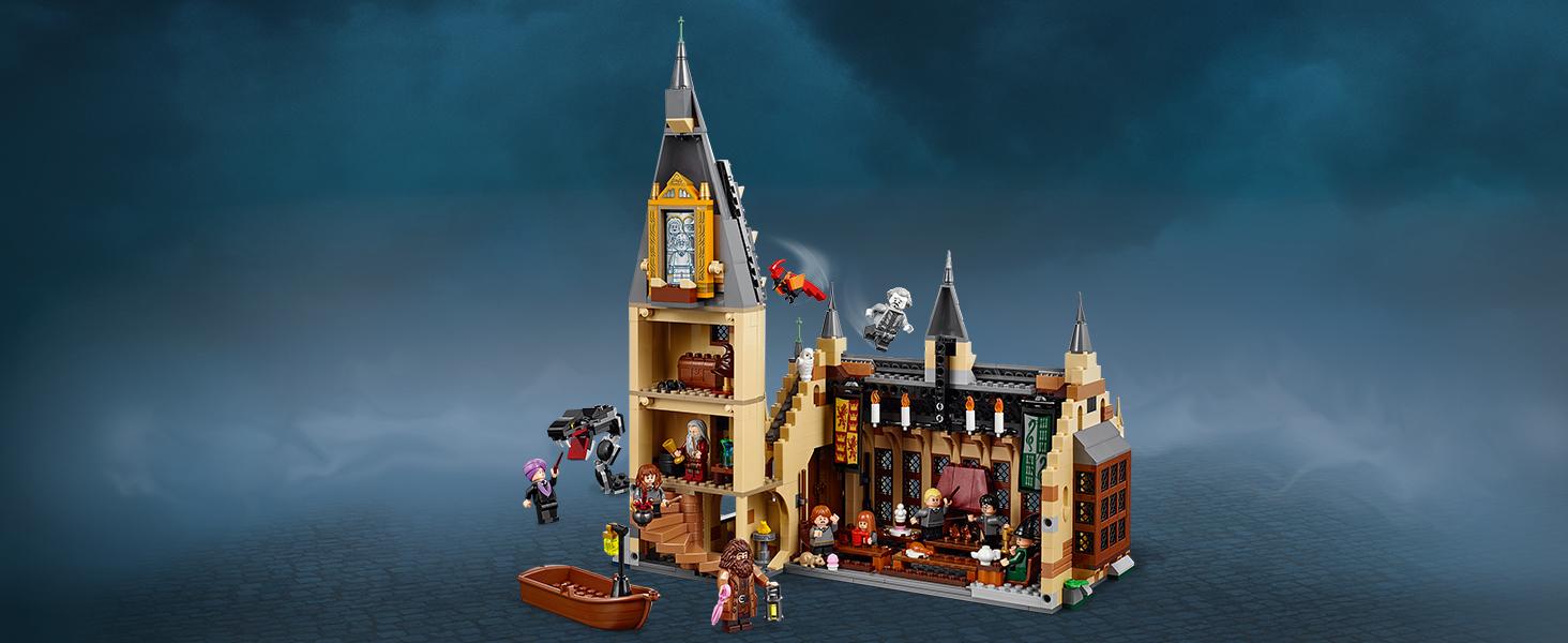 LEGO Harry Potter Gran Comedor de Hogwarts (75954) + Torre del Reloj de Hogwarts (75948) + Sauce Boxeador de Hogwarts (75953), Pack de juguetes de Harry Potter, Construye la Escuela de Magia: