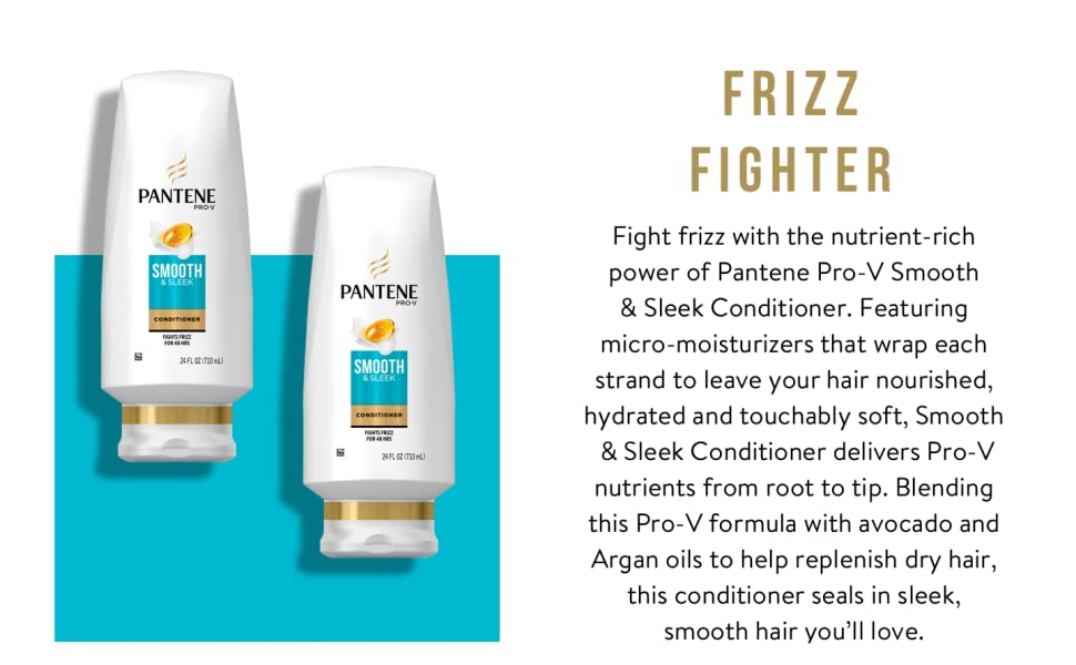 Smooth and sleek conditioner restores hydration conditioning pantene vitamins hair avocado argan oil