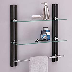 Organize It All Mounted 2 Tier Adjustable Tempered Glass Shelf With