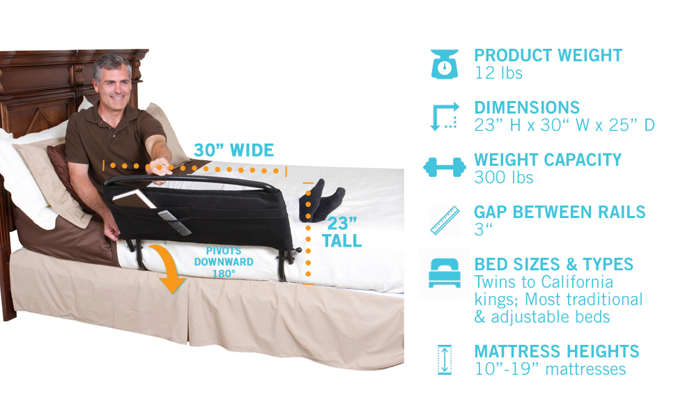 Stander 30 Inch Safety Adult Bed Rail Amp Padded Pouch Home