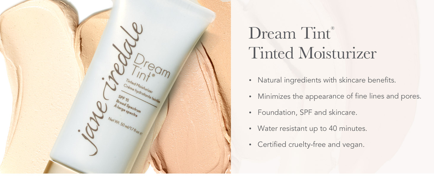 jane iredale deam tint tinted moisturizer spf foundation makeup skincare clean light coverage