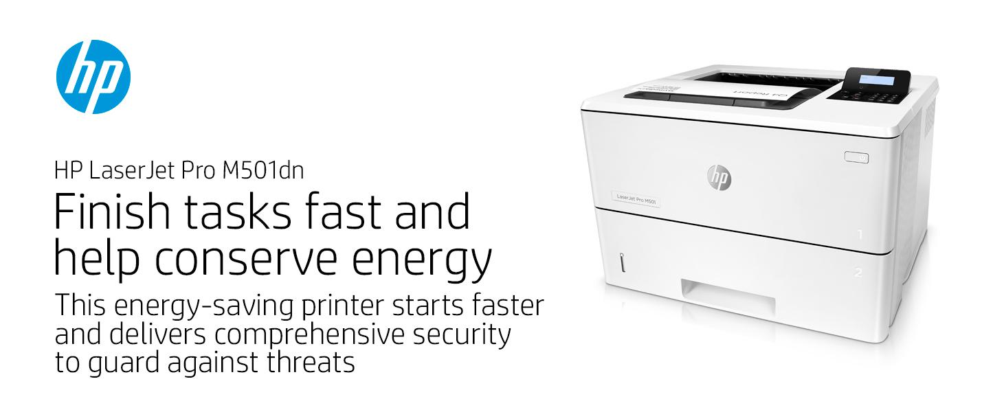 laserjet pro m501dn conserve energy fast start secure printer