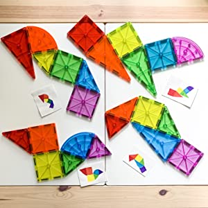 Vibrant Magna-Tiles in Different shapes that are drawn as a guide next to them
