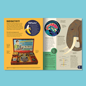 open book page spread banana elephant brain facts animals