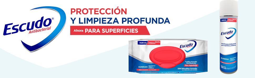 Escudo, Escudo Antibacterial, Escudo Superficies, Toallitas Húmedas Desinfectantes, Aerosol escudo