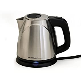 1-Liter ChefsChoice 673 Cordless Compact Electric Kettle in Brushed Stainless Steel Features Boil Dry Protection and Auto Shut Off Easy Pour Silver Chef/'s Choice Kitchen Electrics 6730001