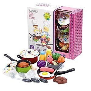 Tachan - Set Menaje de Cocina Metálico de Colores, 22 Piezas ...