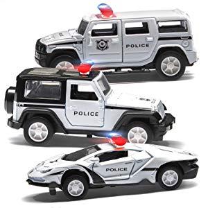 Top Race Coche de Policía Juguete, Coche de juguete con batería para niños con luces y sirenas, Modelo de metal fundido con escala 1:32 Regalos de cumpleaños para niños y niñas para