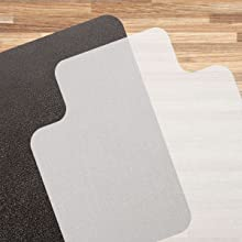 Clear black hardwood hard floor chair mat lipped notched square rectangle