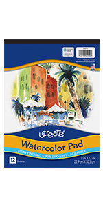 "UCreate Watercolor Pad, 90 lb., 9"" x 12"", 12 Sheets"