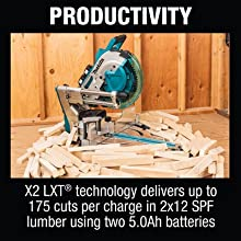 productivity X2 LXT tech delivers cuts per charger 2x12 SPF lumber using 5ah batteries cordless