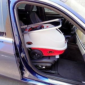 lobster elite tennis ball machine in BMW car seat