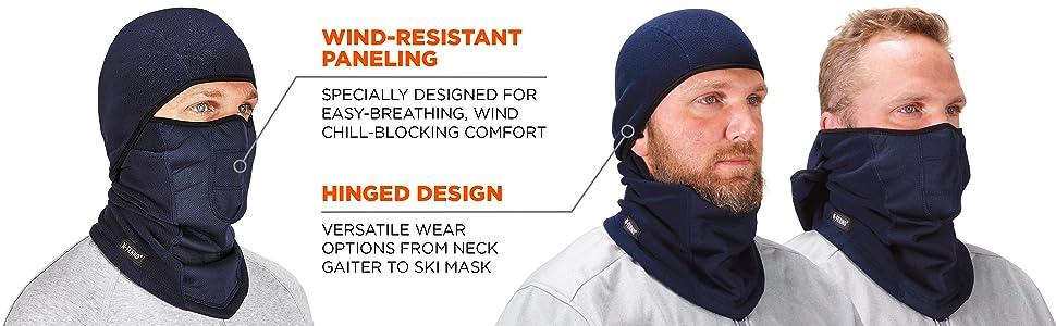6823 thermal winter balaclava wind-resistant, hinged design, neck gaiter, ski mask