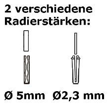 Zwei verschiedene Radierstärken
