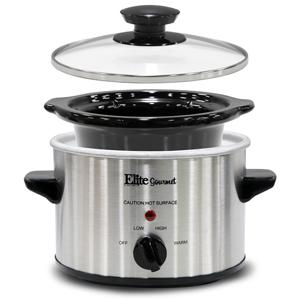 , Elite Gourmet MST-250XS Slow Cooker, Perfect for sauces, Cheese dips, Oatmeal, Dishwasher safe