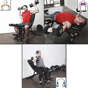 Algunos ejemplos de ejercicios. Ejercicios posibles: Con mancuernas ...